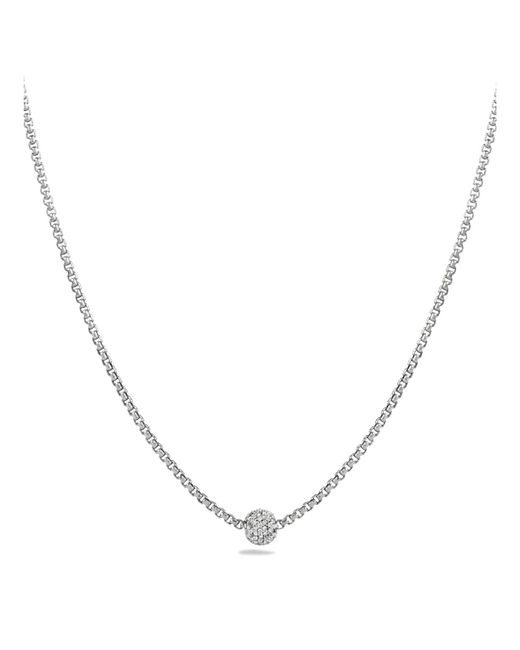 David Yurman | Metallic Petite Pavé Necklace With Diamonds | Lyst