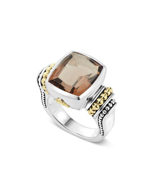 Lagos | Metallic 18k Gold And Sterling Silver Medium Smoky Quartz Ring | Lyst