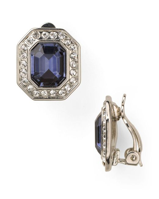 Carolee | Royal Blue Crystal Button Clip-on Earrings | Lyst
