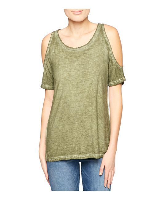 Sanctuary | Green Heathered Cold-shoulder Top | Lyst