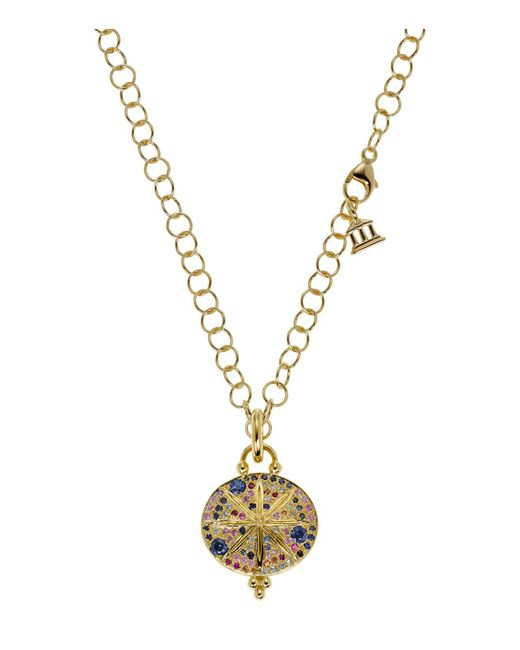 Temple St. Clair - Metallic 18k Yellow Gold Sorcerer Pendant With Mixed Sapphires - Lyst