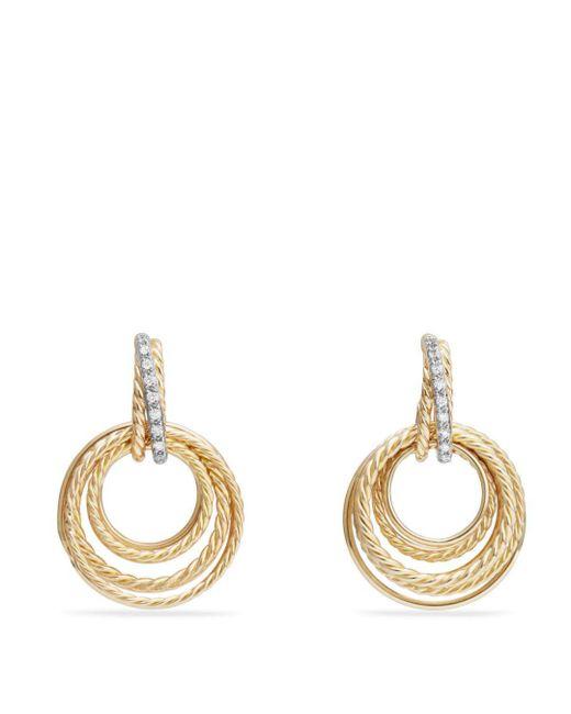 David Yurman - Metallic Crossover Drop Earrings With Diamonds In 18k Gold - Lyst