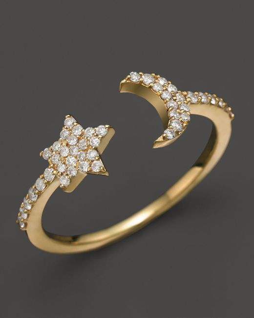 Meira T - Metallic 14k Yellow Gold Moon & Star Ring With Diamonds - Lyst