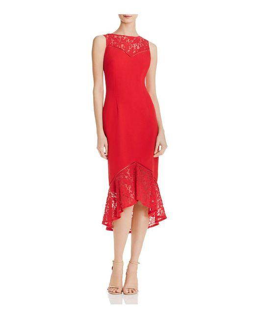 Aidan By Aidan Mattox - Red Lace-inset Crepe Dress - Lyst