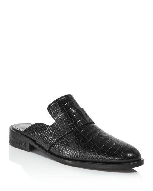 Frēda Salvador - Black Women's Keen Almond Toe Croc-embossed Leather Mules - Lyst
