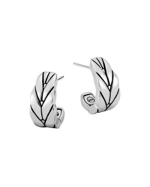 John Hardy - Metallic Sterling Silver Modern Chain Small J Hoop Earrings - Lyst