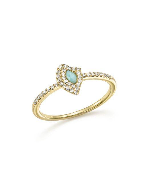 Meira T - Metallic 14k Yellow Gold Larimar Ring With Diamonds - Lyst