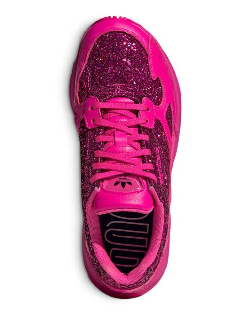 Lyst - adidas Women s Falcon Glitter Low-top Dad Sneakers in Pink 30bb83775574
