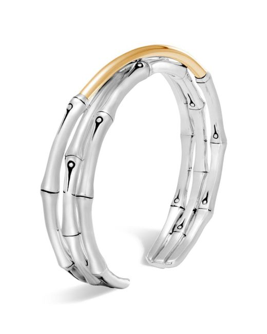 John Hardy - Metallic Bamboo 18k Yellow Gold & Sterling Silver Flex Cuff - Lyst