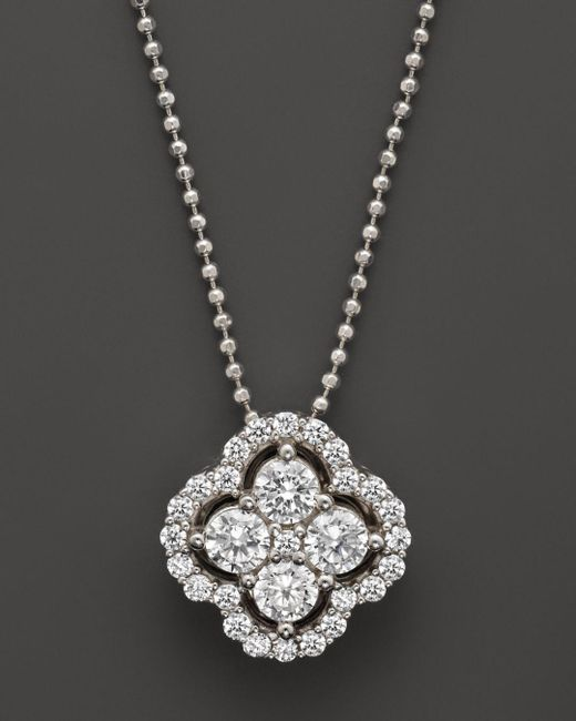 Bloomingdale's - Diamond Clover Pendant Necklace In 14k White Gold, .75 Ct. T.w. - Lyst