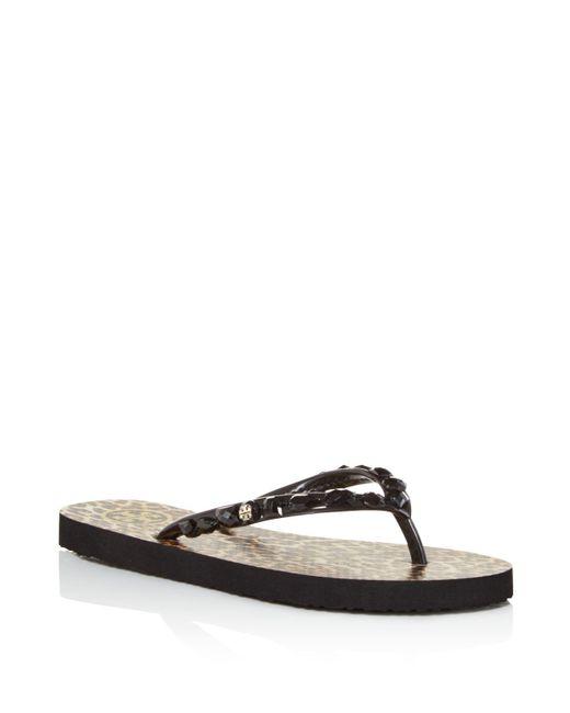 Tory Burch | Black Jeweled Thin Flip-flops | Lyst
