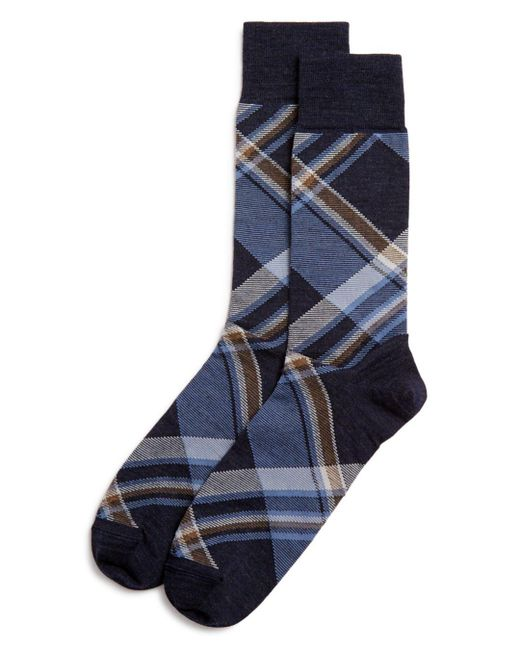 Bloomingdale's - Blue Diagonal Plaid Socks for Men - Lyst