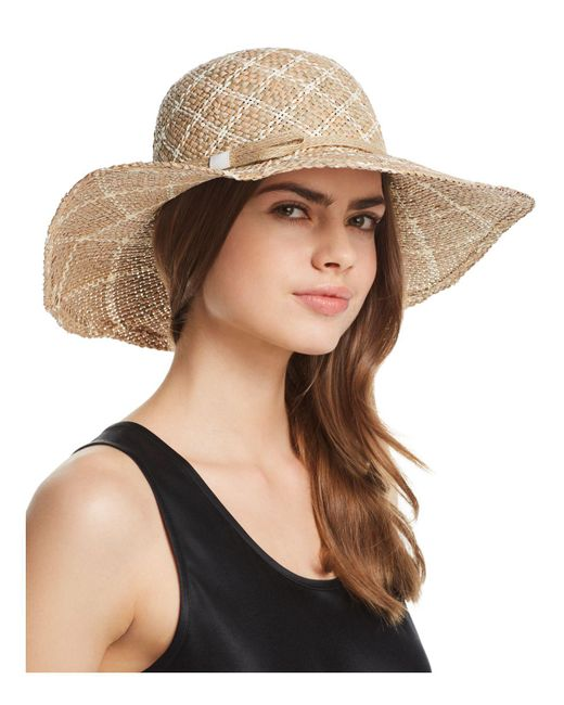 Aqua - Natural Two-tone Patterned Straw Sun Hat - Lyst
