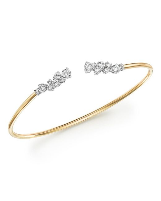 Bloomingdale's - Metallic Diamond Open Bangle Bracelet In 14k White Gold And 14k Yellow Gold, 1.20 Ct. T.w. - Lyst