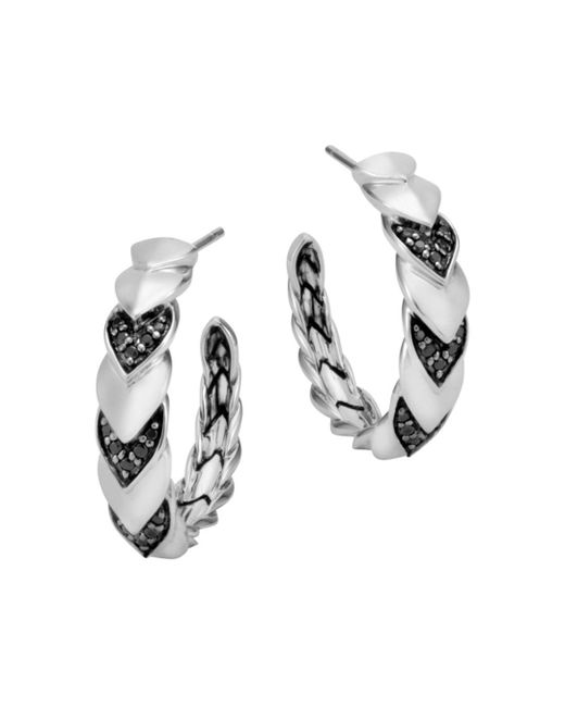 John Hardy - Metallic Sterling Silver Naga Hoop Earrings With Black Sapphire And Black Spinel - Lyst