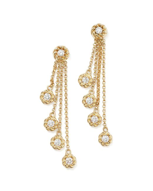 Roberto Coin | Metallic 18k Yellow Gold New Barocco Diamond Drop Earrings | Lyst
