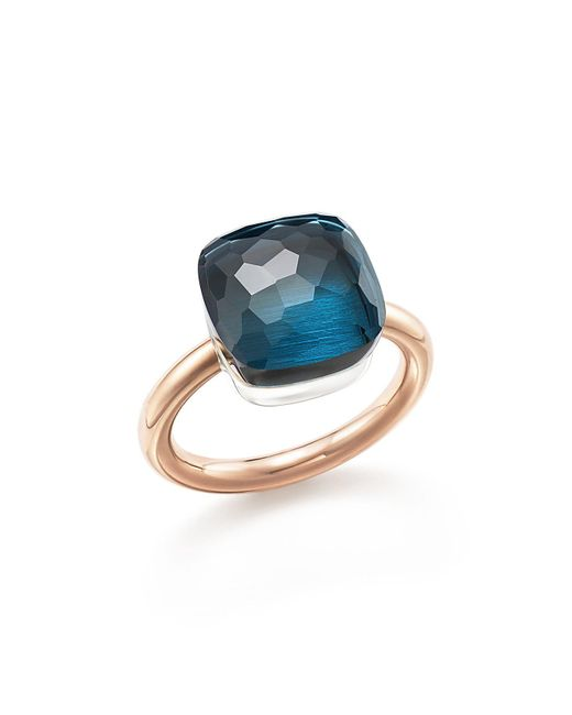 Pomellato   Nudo Maxi Ring With London Blue Topaz In 18k Rose And White Gold   Lyst
