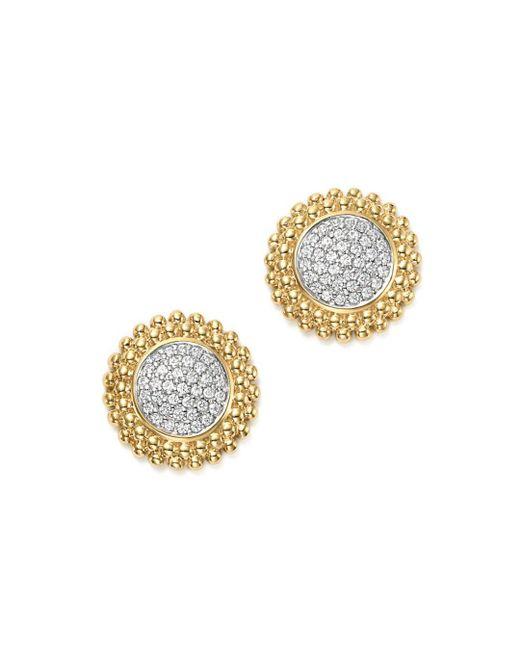 Bloomingdale's - Metallic Diamond Micro Pavé Beaded Stud Earrings In 14k Yellow Gold, 0.20 Ct. T.w. - Lyst
