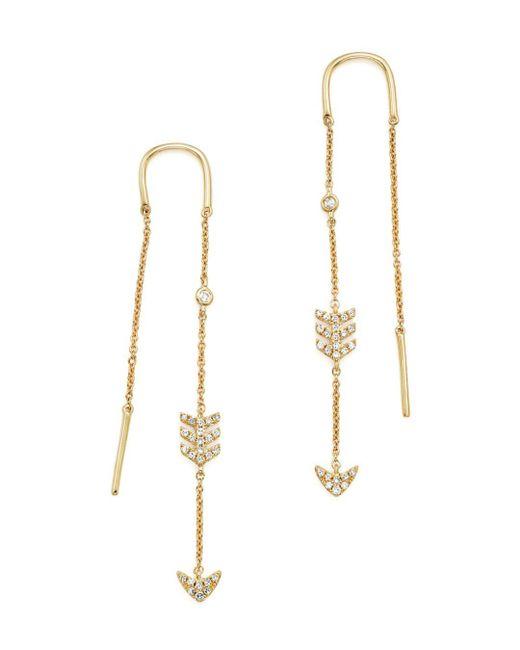 KC Designs - White 14k Yellow Gold Diamond Micro Pavé Drop Chain Earrings - Lyst