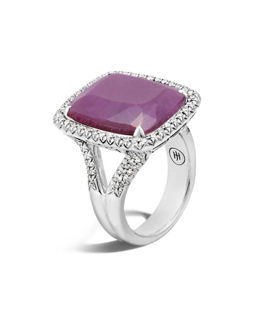 John Hardy - Pink Sterling Silver Classic Chain Magic Cut Indian Ruby Ring With Diamonds - Lyst