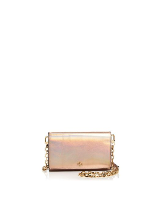 Tory Burch | Robinson Metallic Leather Chain Wallet | Lyst