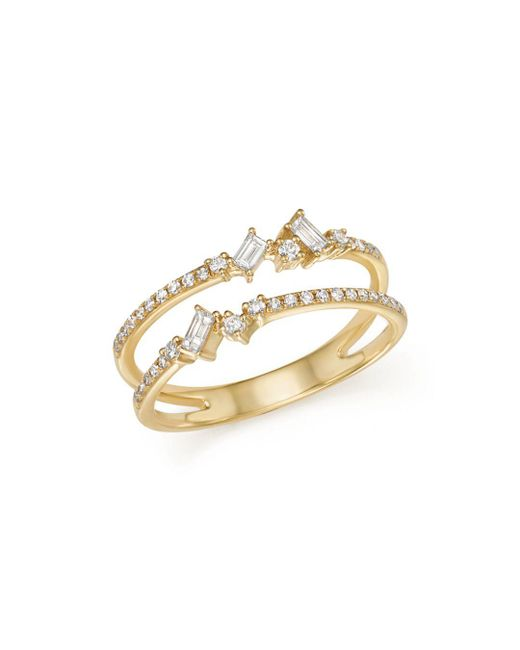 KC Designs - Metallic 14k Yellow Gold Mosaic Diamond Double Bar Ring - Lyst