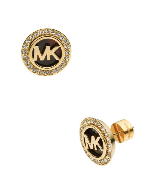 Michael Kors | Metallic Monogram Tortoise-print & Pave Stud Earrings | Lyst