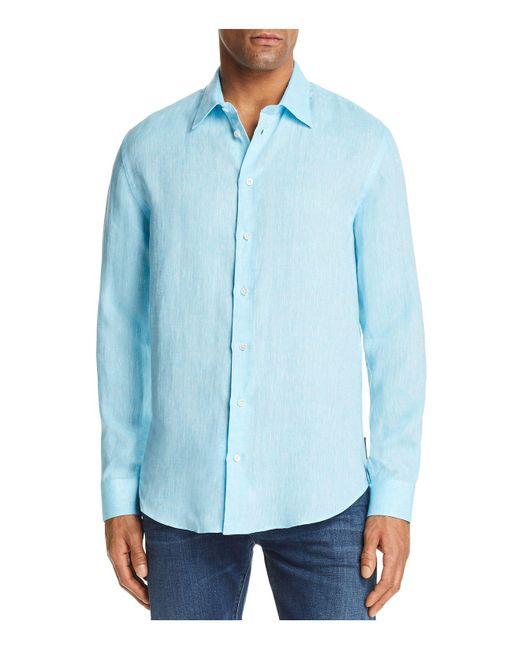 Emporio Armani - Blue Tonal Stitch Regular Fit Button-down Shirt for Men - Lyst