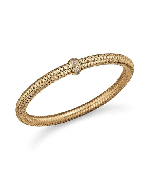 Roberto Coin - Metallic 18k Yellow Gold Primavera Stretch Bracelet With Diamonds - Lyst