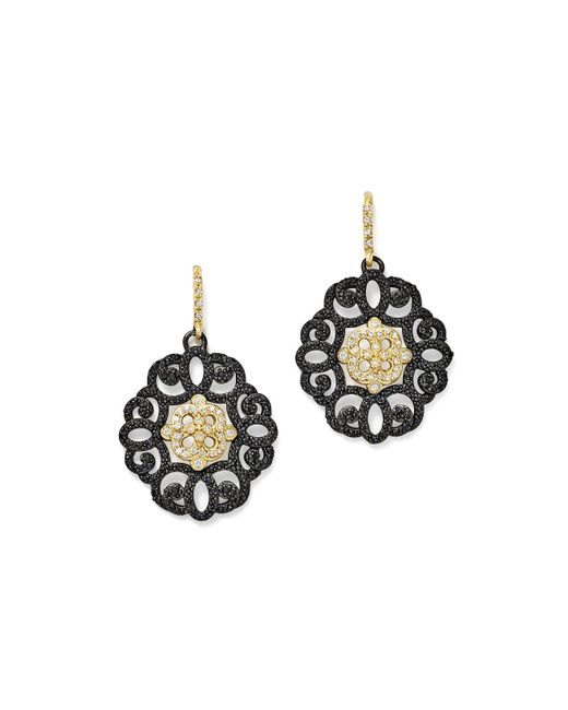 Armenta | Metallic 18k Yellow Gold And Blackened Sterling Silver Old World Diamond And Black Sapphire Filagree Earrings | Lyst