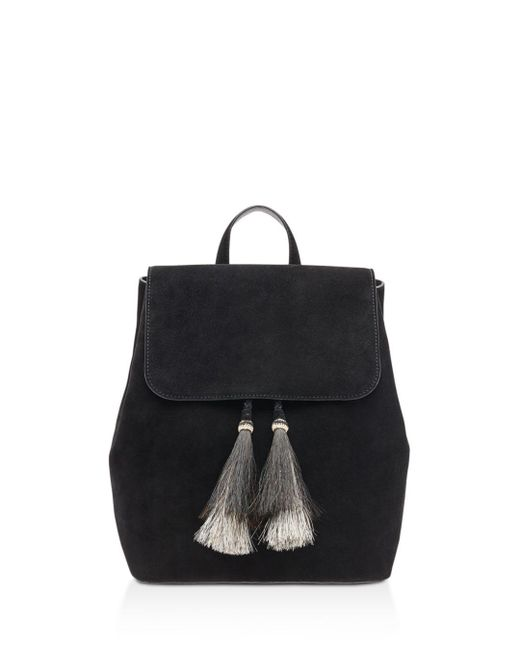Loeffler Randall - Black Drawstring Suede Backpack - Lyst
