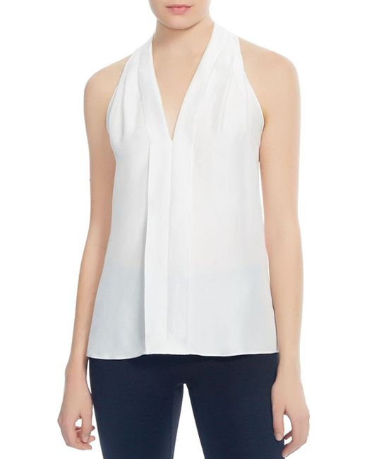 Halston Heritage - White Pleated Back-sash Top - Lyst