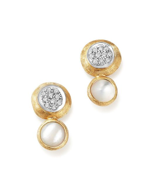 Marco Bicego | 18k White And Yellow Gold Jaipur Climber Stud Earrings With Mother-of-pearl And Diamonds | Lyst