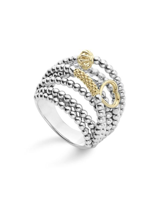 Lagos - Metallic 18k Gold And Sterling Silver Domed Caviar Icon Multi Row Ring - Lyst