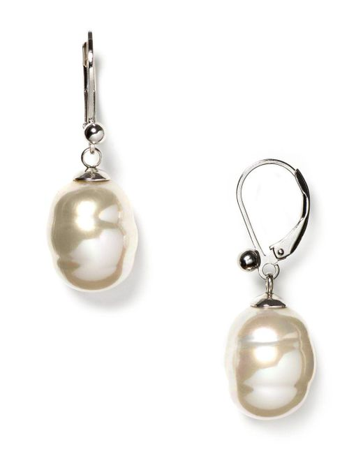 Majorica - White Baroque Simulated Pearl Drop Earrings - Lyst