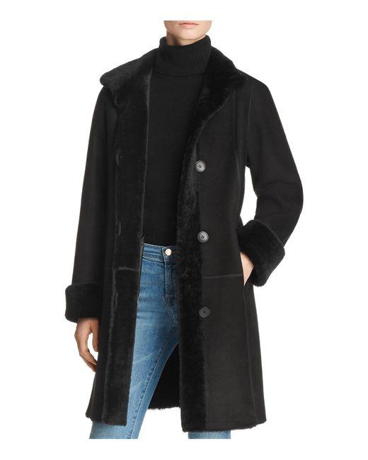 Maximilian - Black Peyton Shearling Coat With Toscana Shearling Stand Collar - Lyst