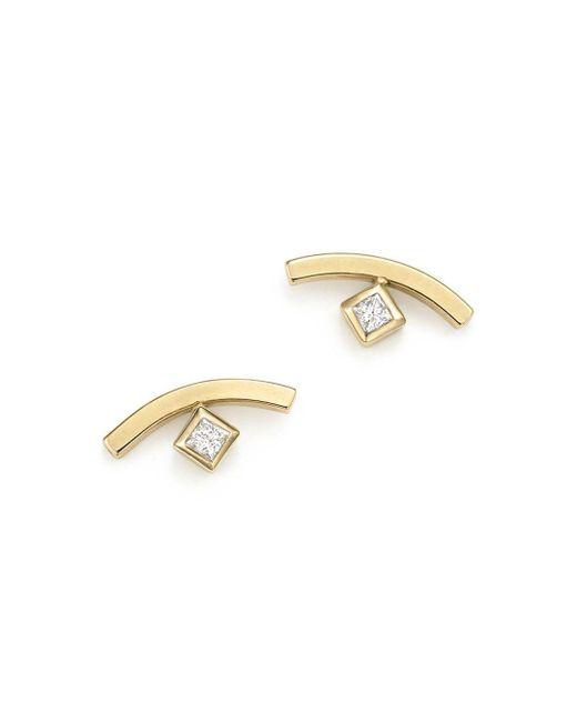 Zoe Chicco - Metallic 14k Yellow Gold Curved Bar Earrings With Bezel Set Diamonds - Lyst