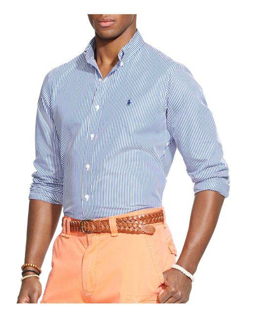 Polo Ralph Lauren - Blue Striped Poplin Button-down Shirt - Classic Fit for Men - Lyst
