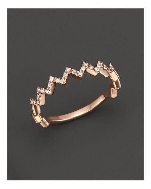 Bloomingdale's - Metallic Diamond Zigzag Ring In 14k Rose Gold, 0.10 Ct. T.w. - Lyst