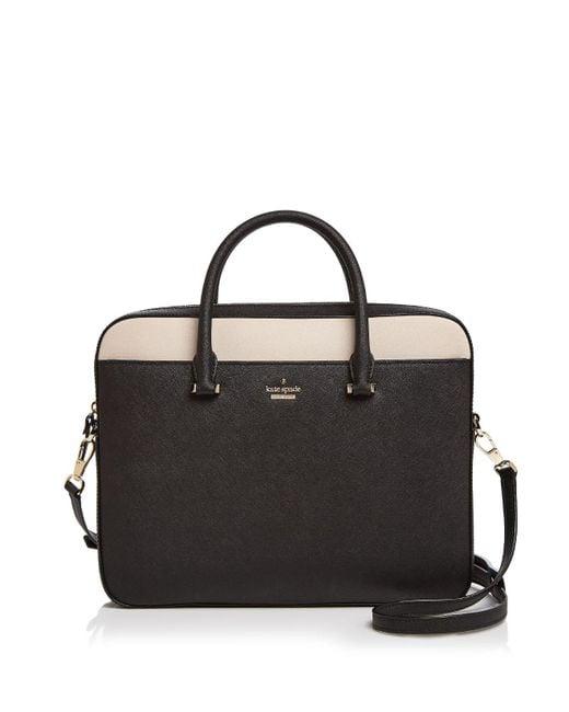 "Kate Spade | Black 13"" Color Block Saffiano Leather Laptop Case | Lyst"