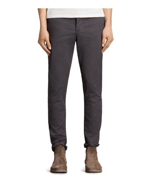 AllSaints | Gray Park Slim Fit Chinos for Men | Lyst