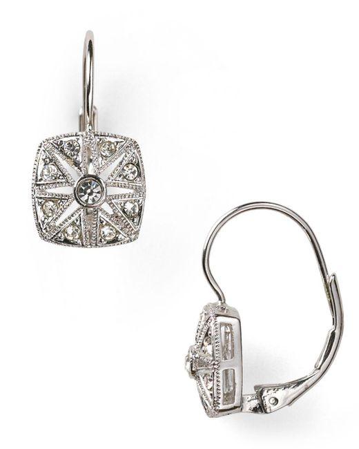 Nadri - Metallic Vintage Square Leverback Earrings - Lyst