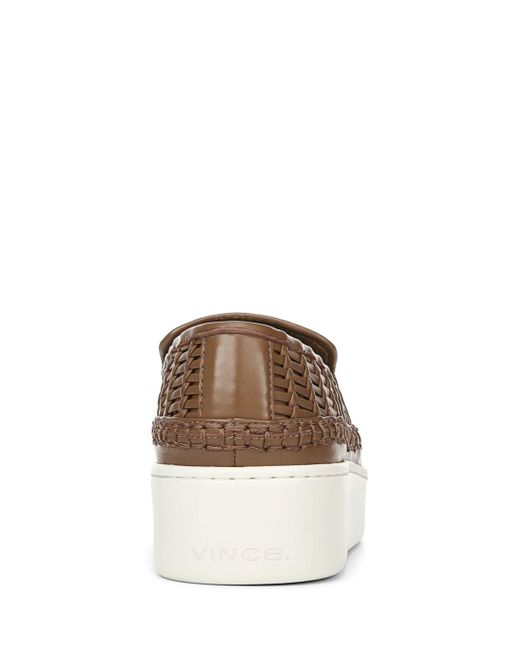 f9b0a4c31c3 ... Lyst Vince - Brown Women s Stafford Woven Leather Platform Slip-on  Sneakers ...