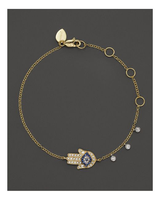Meira T - Multicolor 14k Yellow Gold Hamsa Bracelet - Lyst