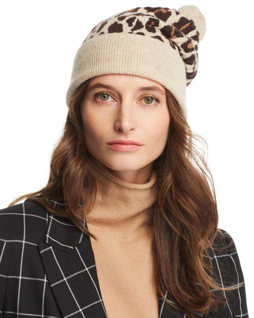 Rosie Sugden - Natural Pom-pom Leopard Cashmere Beanie - Lyst