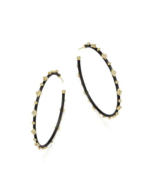 Armenta | Metallic 18k Yellow Gold And Blackened Sterling Silver Old World Midnight Diamond Hoop Earrings | Lyst