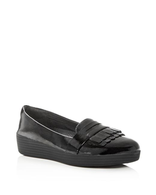 Fitflop | Black Women's Fringey Sneakerloafer Patent Leather Penny Loafers | Lyst