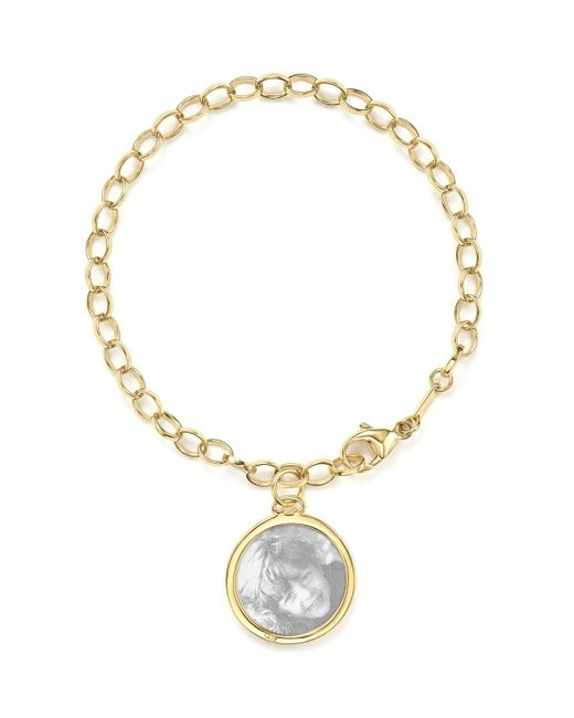 Monica Rich Kosann | Metallic 18k Yellow Gold Oval Chain Hammered Charm Bracelet | Lyst