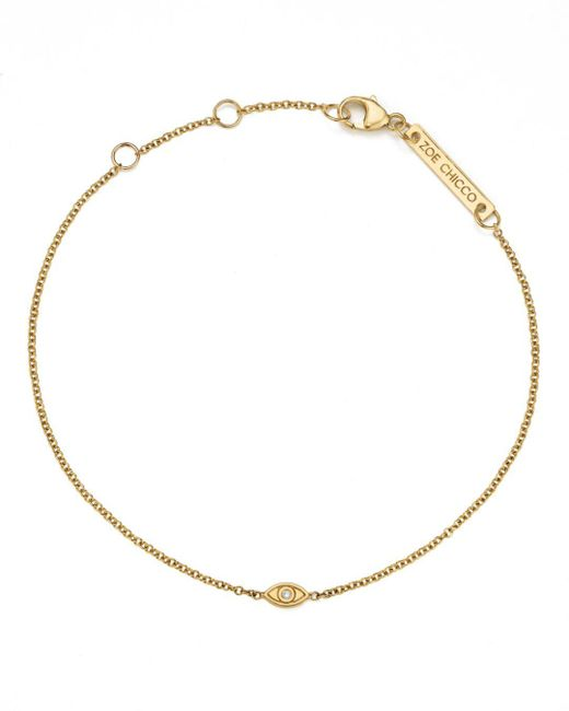 Zoe Chicco - Metallic 14k Yellow Gold Itty Bitty Diamond Evil Eye Bracelet - Lyst