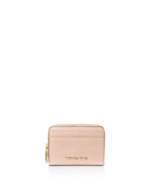 MICHAEL Michael Kors - Multicolor Zip Around Leather Card Case - Lyst
